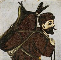 A man carrying a wineskin