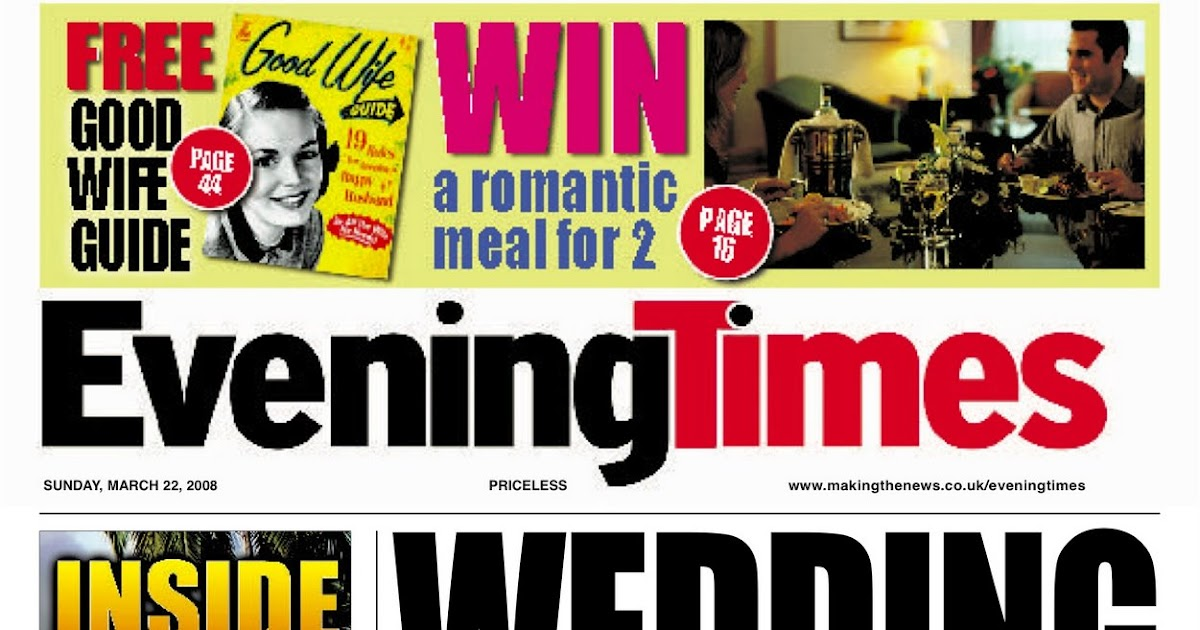 Personalised Wedding Gifts Glasgow : Scooped!: Personalised Wedding Newspaper Gifts - Spoof Evening Times ...