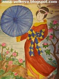 Гейша с зонтиком