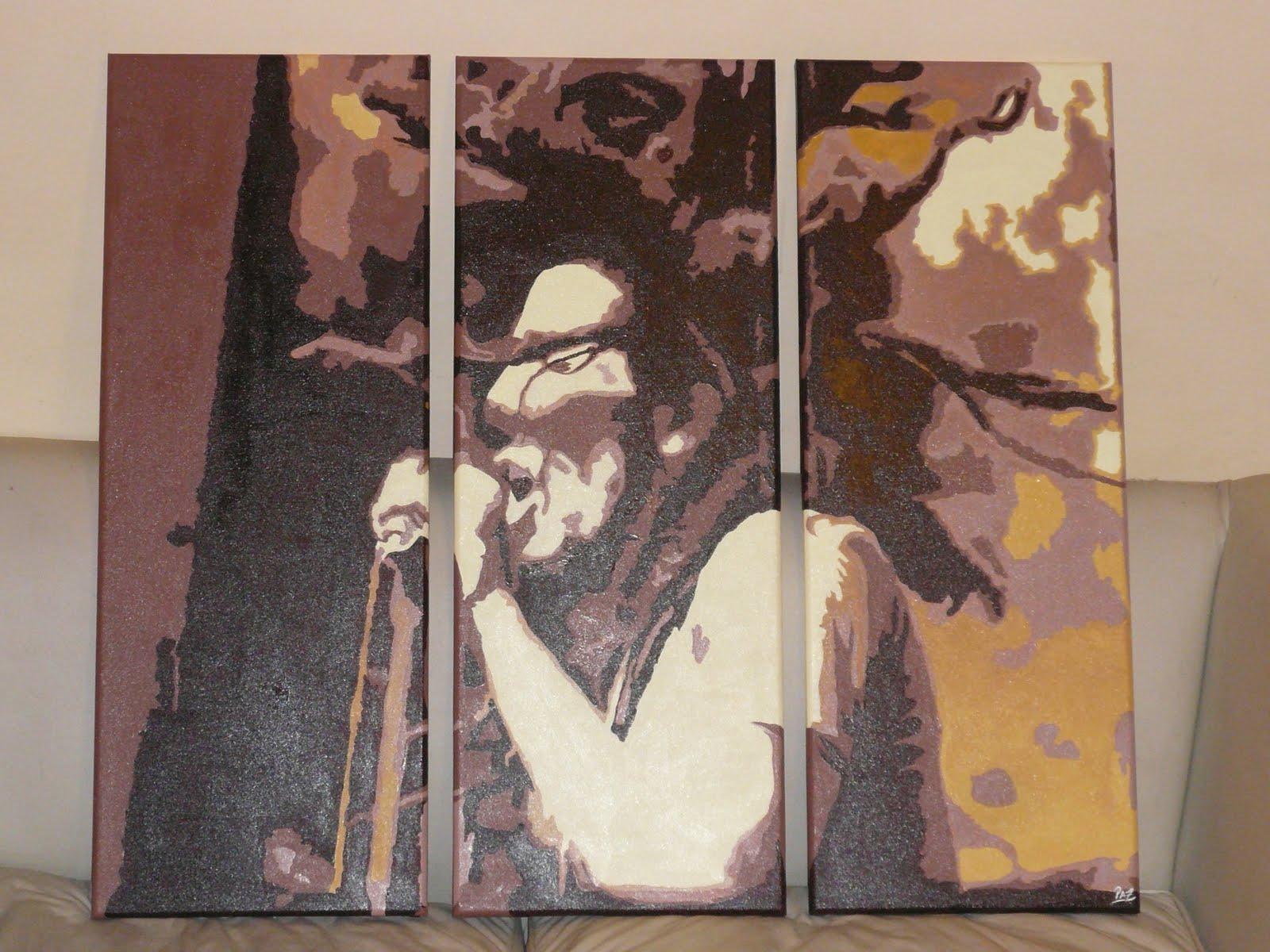 Bob marley doble carga cuadros acrilico pintados a mano - Cuadros de bob marley ...