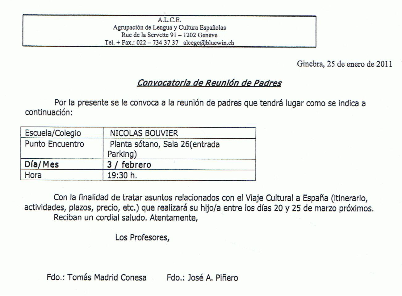 ALUMNOS DE ESPAÑOL (4.2A,B,C y 4.3-B,C,E) EN LA A.L.C.E. de Ginebra ...