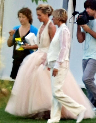 But Zac Posen made a subtle pink halterneck wedding gown with plunging