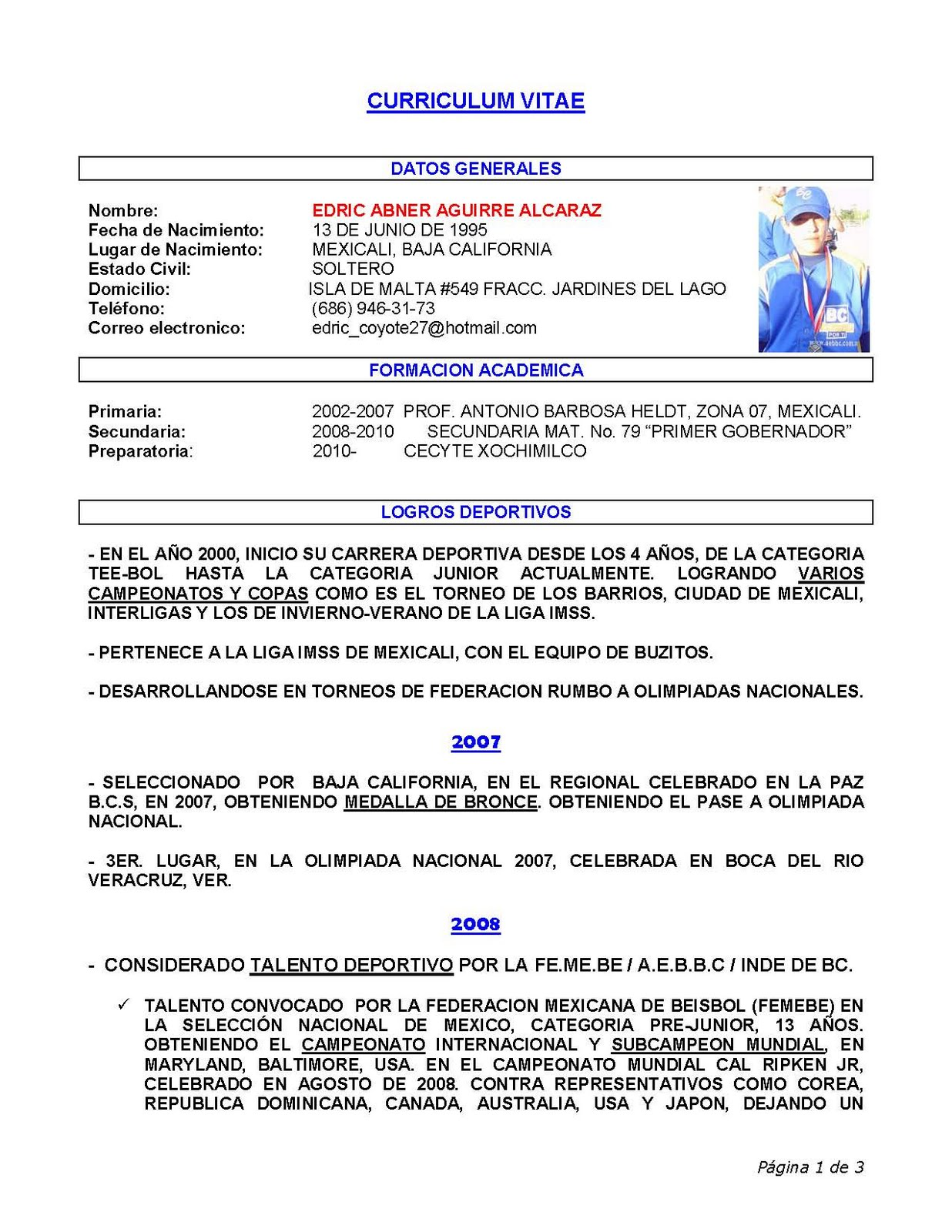 Mexicali Beisbol: EDRIC ABNER AGUIRRE ALCARAZ CONVOCADO A SELECCION ...