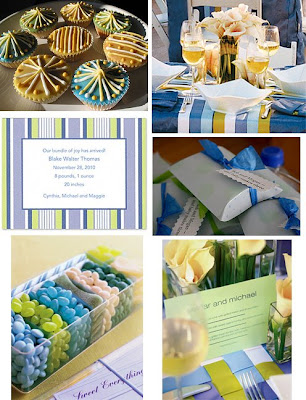 blue and green striped baby shower though the blue and green