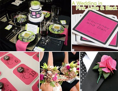 green black and white wedding ideas. pink lack wedding receptions