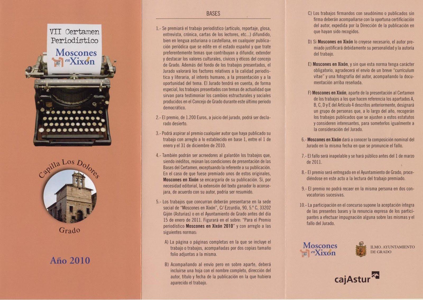 culturagrado: VII Certamen Periodístico Moscones en Xixón