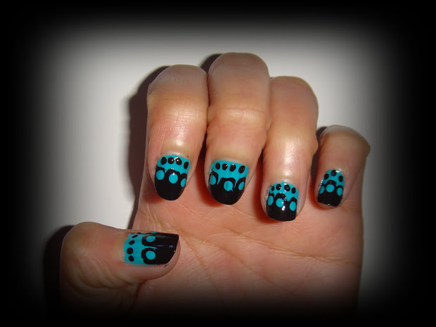 black and teal nail design ilovenailart