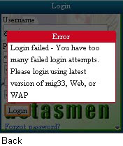 Mig33 Failed Login Attempts