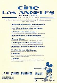 Programa del cine Los Angeles de Candelario Salamanca en 1974