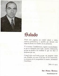 Saluda de Jose Alvarez Quintana, alcalde de Candelario Salamanca en 1973