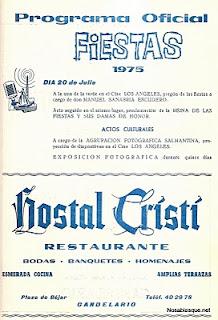 Programa oficial de fiestas de Candelario Salamanca 1975
