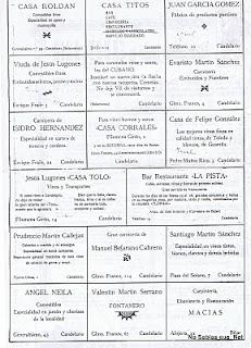 Anuncios publicitarios en las fiestas de Candelario Salamanca en 1953