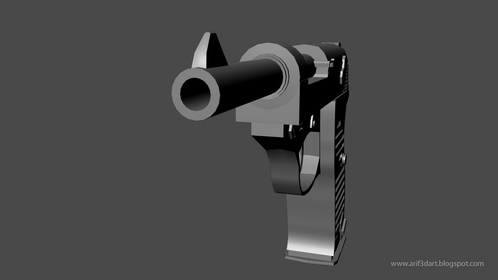 Front view 3d gun modling