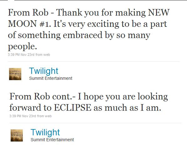 Rob Tweeted via @TWILIGHT