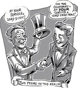 Two peers shaking hand-cartoon