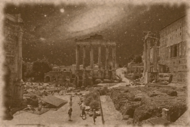 Roman forum, Andromeda galaxy, sepia photo