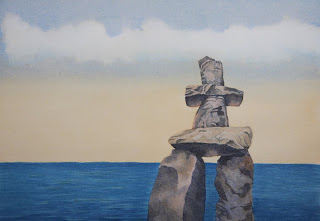 Watercolor Painting - Vancouver Inukshuk