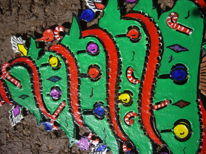 DECORATED CHRISTMAS TREE, HANDMADE IN BALI, WAYANG-KULIT STYLE LEATHER WORKMANSHIP AND DESIGN