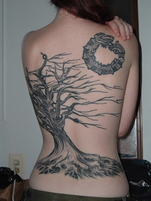 Ttree Full Back Body Girl Tattoo Design