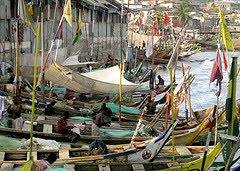 Fishing Boats at the end of the day in Cape Coast