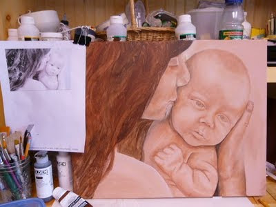 mother and child painting commission
