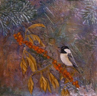 winterberry and chickadee painting