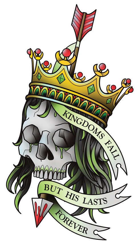 I designed this skull wearing a crown tattoo for a tattoo flash set I'm