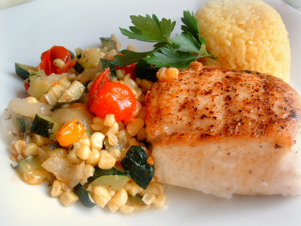 Pan seared roasted halibut summer garden succotash and for Summer fish and rice