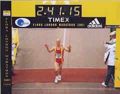 Me at the finish of the 2001 London Marathon