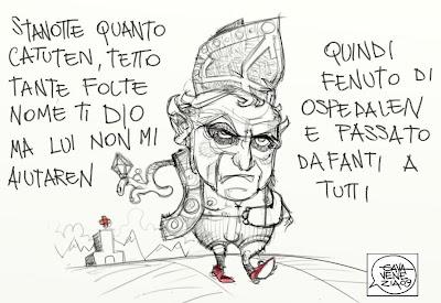 Papa caduto dal letto polso Gava satira vignette