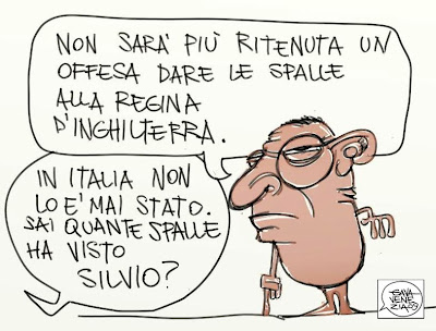 Gava Satira Vignette Regina d'Inghilterra Elisabetta II Berlusconi