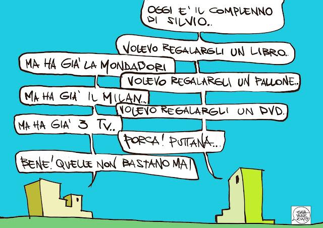 Gava Satira Vignette Berlusconi compleanno mondadori milan tv