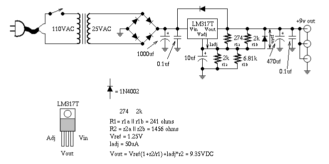 guitartech ultra clean 9v dc power supply guitar effect schematicthe following circuit diagram is an electric guitar schematic of ultra clean 9v dc power supply guitar effect designed by rick barker lm317t is used