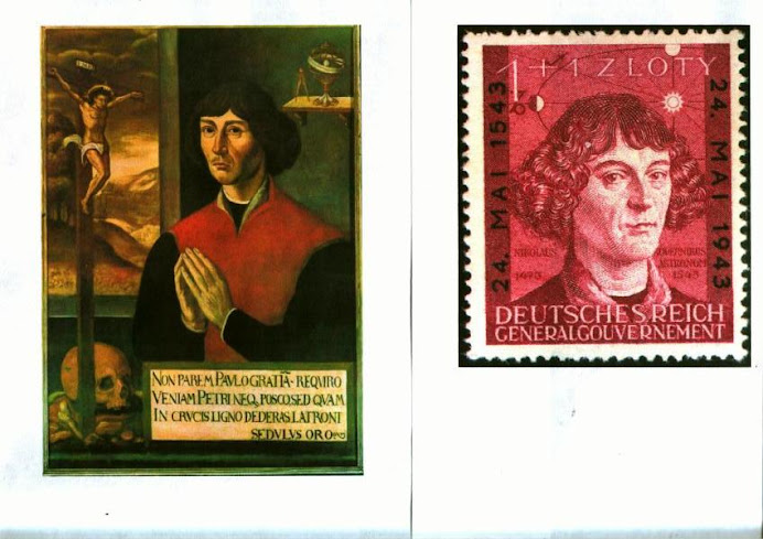 Copernicus's epitaph portriat and Copernicus on Nazi post stamp