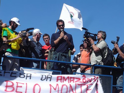 Activists at a protest to stop Belo Monte Dam