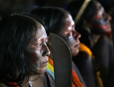 Indigenous women protest against the construction of the Belo Monte hydropower dam