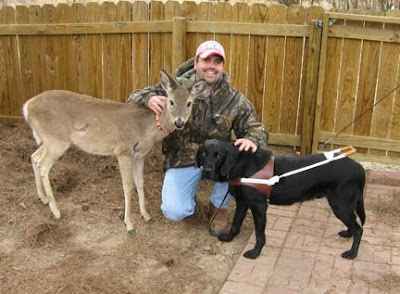 Brandon, Maple the deer and Shakespeare the Guide Dog