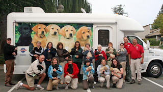 Photo of truck with new puppies ready to be loaded