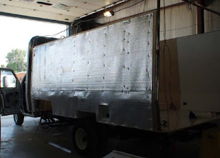 Photo of truck with insulation installed