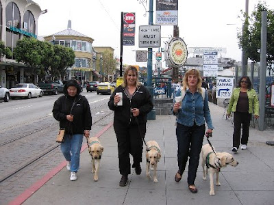 Raisers and their pups at Fisherman's Wharf in San Francisco