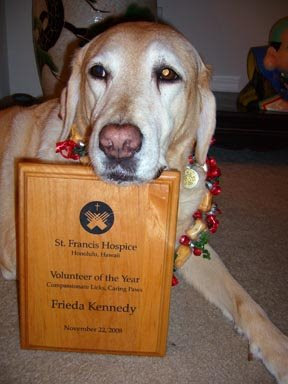 Freida with her Volunteer of the Year award.