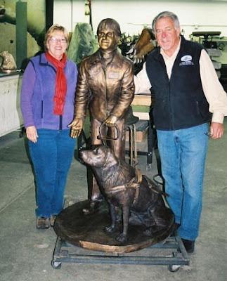 A bronze statue of GDB alumna Cara Dunne