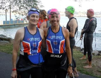GDB alumna Cindy Rogers at the Nautica NYC Triathalon with her sighted guide partner