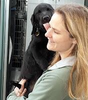 Puppy raiser Mandy holds black Lab pup Saxon, fresh of GDB's puppy truck