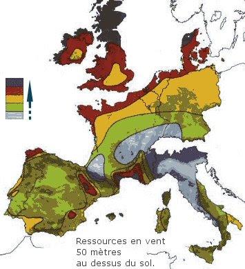 Carte des vents en Europe - Atlas éolien d'Europe