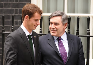 Photo of Andy Murray and Gordon Brown at Malaria charity event