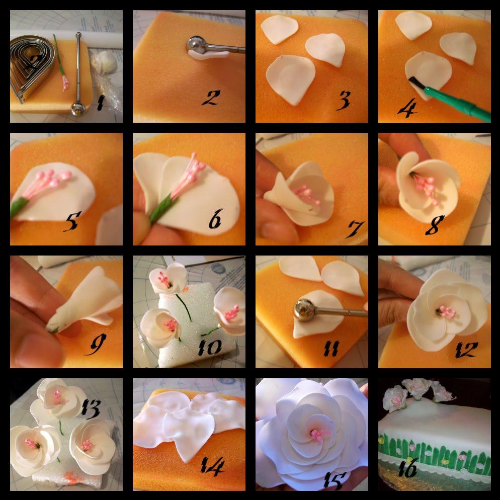 Como hacer flores de hortensias y rosas con pistilo en pasta de goma