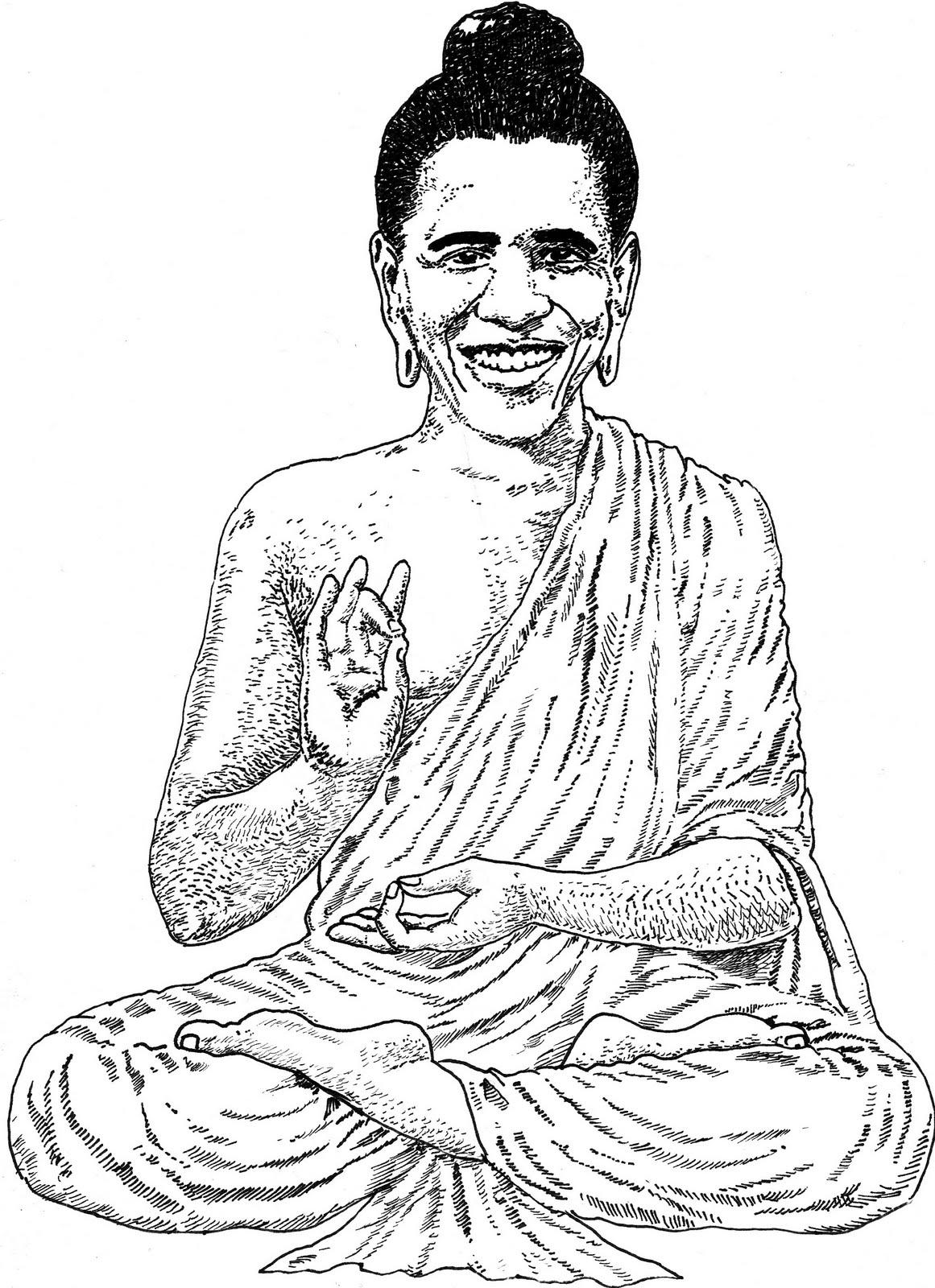 Buddha Face Line Drawing : Jack coltman artist buddha obama