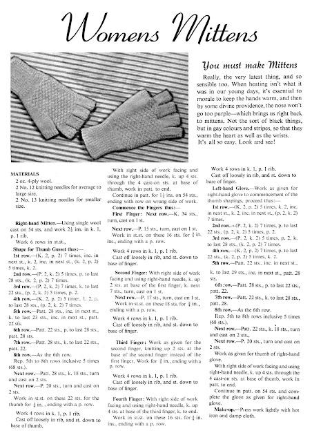 1940's Knitting - Women's Mittens free pattern