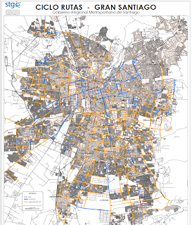 Blog ide chile el mapa de ciclorutas de santiago for Calles de santiago de chile